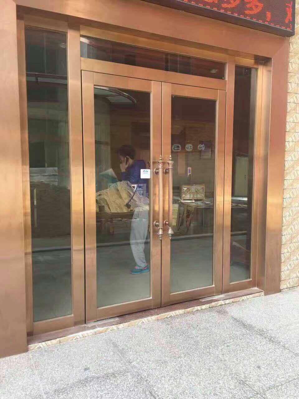 仿铜不锈钢玻璃防火门