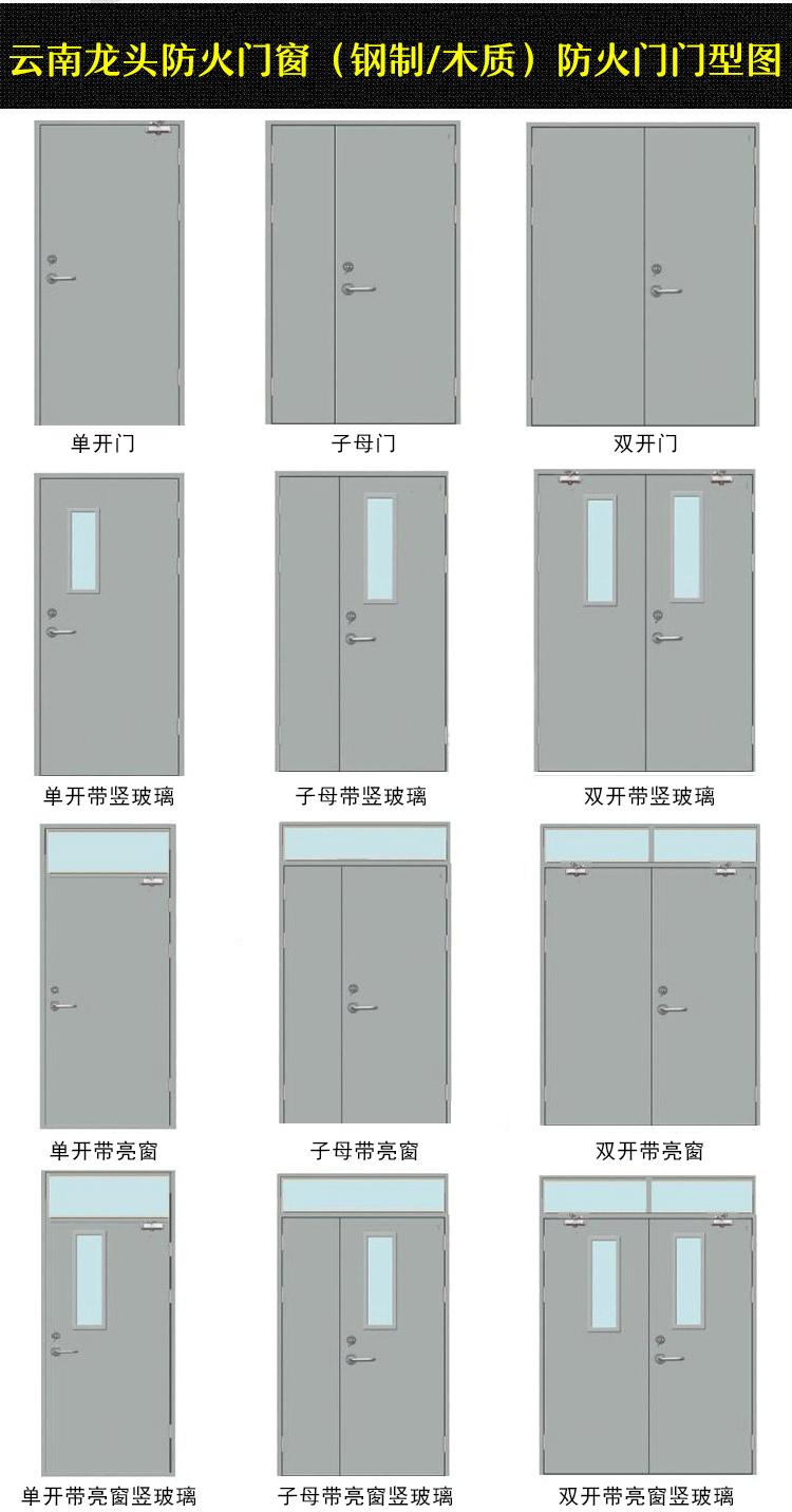 钢制防火门/木质防火门生产厂家门型图